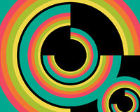 cirklar mönsan den retro wallpaperen Arkivfoton