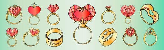 Cirklar med hjärtor i form av uppsättning vektor illustrationer