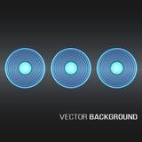 Cirklar med ljusa effekter bildar en guld- glödande rund ram på bakgrund för mörk brunt royaltyfri illustrationer