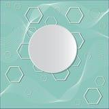 Cirklar på blå bakgrund med polygoner Royaltyfri Foto