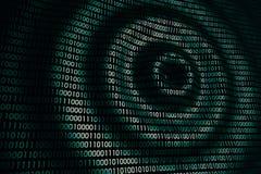 Cirkuläret vinkar på den abstrakta digitala väggen i cyberspace Royaltyfria Bilder