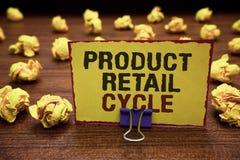 Cirkulering för detaljhandel för produkt för handskrifttexthandstil Begreppsbetydelsen som märkesframsteg till och med följd av e royaltyfria bilder