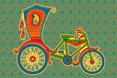 Cirkuleringsrickshaw i indisk konststil royaltyfri illustrationer