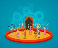 cirkus Aktörer på arenan Fotografering för Bildbyråer
