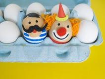 cirkus Begreppet av påsken med gulliga och gladlynta handgjorda ägg Royaltyfria Foton