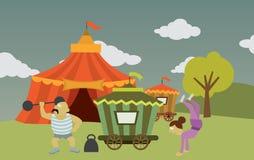Cirkus med konstnärer Arkivfoto