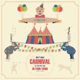 Cirkus och mall för karnevalinbjudankort Arkivfoton