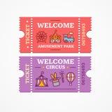 Cirkus- och nöjesfältbiljetter sänker symbolsuppsättningen vektor royaltyfri illustrationer