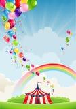 Cirkus, regnbåge och ballonger royaltyfri illustrationer