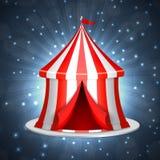 Cirkus tio på en blå bakgrund stock illustrationer