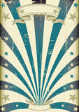 Cirkusblått strålar tappningaffischen stock illustrationer
