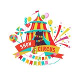 Cirkusclipart randig tent för cirkus vektor illustrationer