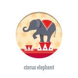 Cirkuselefantakrobat royaltyfri illustrationer