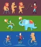 Cirkuskapacitet med djurclownskådespelaren, vektorillustration Royaltyfri Foto