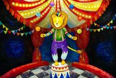 cirkuslejon som jonglerar med färgrika bollar royaltyfri fotografi