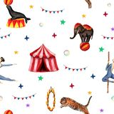 Cirkusmodell, elefant, skyddsremsa, tiger, tält, flaggor, såpbubblor och akrobat Vattenfärgillustration på vit royaltyfri illustrationer