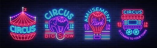 Cirkussamling av neontecken Uppsättning av logoer för cirkus i neonstil, cirkussymbol, neonbaner som är ljust nightly royaltyfri illustrationer