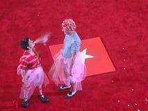 Cirkusshow i en röd cirkel fotografering för bildbyråer