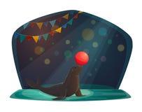 Cirkusskyddsremsa som balanserar med den röda bollen på arenan stock illustrationer