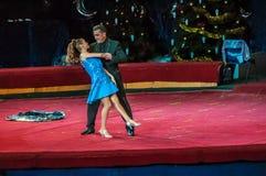 Cirkusstjärnor utför fokusen klär ups Royaltyfria Foton