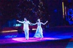 Cirkusstjärnor utför fokusen klär ups Royaltyfri Fotografi