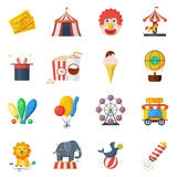 Cirkussymboler sänker uppsättningen Arkivbilder