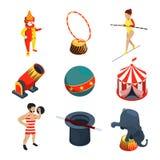 Cirkussymbolsuppsättning Folket djur, trollkarlshow spexar och annan vektorillustration i tecknad filmstil stock illustrationer