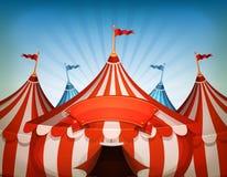 Cirkustält för stor överkant med banret stock illustrationer