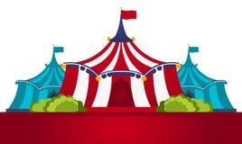 Cirkustält med banret Fantastisk show Plan illustration royaltyfri illustrationer