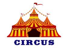 Cirkustält med röda och gula band Arkivfoton
