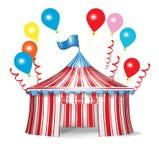 Cirkustent med berömballonger Arkivbild