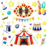 Cirkusuppsättning för flygillustration för näbb dekorativ bild dess paper stycksvalavattenfärg royaltyfri bild