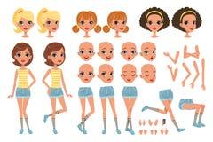 Cirl字符创作集合,用不同的姿势,姿态,面孔,发型,传染媒介的逗人喜爱的女孩建设者 向量例证