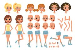Cirl character creation set, cute girl constructor with different poses, gestures, faces, hairstyles, vector. Illustrations on a white background vector illustration