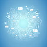 Cirlce of figures, hexagons and envelopes Royalty Free Stock Photos
