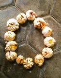 Cirled garlics stock photo