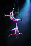 Cirque作梦(密林幻想), heatrical杂技马戏perfo 免版税库存图片