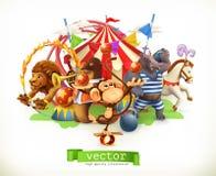 Cirque, animaux drôles Vecteur Photographie stock