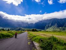 Cirque de Cilaos i La Reunion Island Arkivbilder