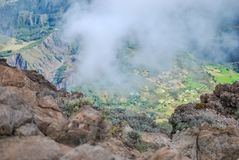 Cirque de cilaos at sunset view from piton des neiges. On reunion island stock images