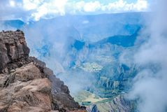 Cirque de cilaos at sunset view from piton des neiges. On reunion island stock photo