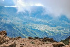 Cirque de cilaos at sunset view from piton des neiges. On reunion island stock image