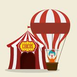Cirque de clown avec le vol d'air de ballon illustration de vecteur