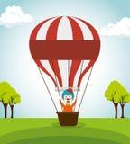 Cirque de clown avec le vol d'air de ballon illustration stock