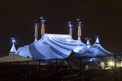 Cirque du Soleil in Toronto, Canada. Toronto, Canada - Oct 13, 2017: Cirque du Soleil circus tent big top illuminated at night. Toronto, Province of Ontario Royalty Free Stock Photo