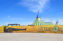 Cirque du Soleil yellow and blue tent Stock Photo