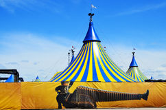 Cirque du Soleil yellow and blue tent Royalty Free Stock Image