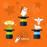 cirque Ensemble de magicien de chapeau Image stock