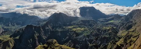 Cirque of mafate, highlands of the réunion island. Cirque of mafate, highlands of the réunion island , panoramic view from maïdo summit royalty free stock photos