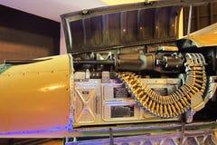 Ciérrese encima de la ametralladora en aviones de combate Imagen de archivo